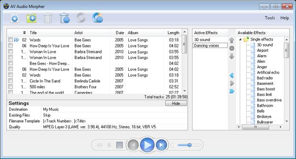 Av audio morpher aggiungi effetti e poi converti in - Download er finestra ...