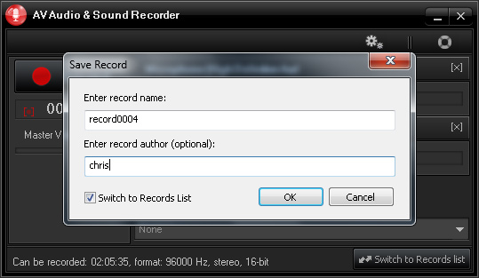 AV Audio & Sound Recorder - Proprietà tracce registrate