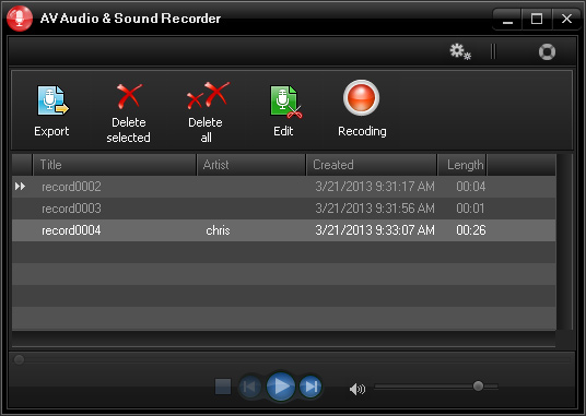 AV Audio & Sound Recorder - Gestore tracce registrate