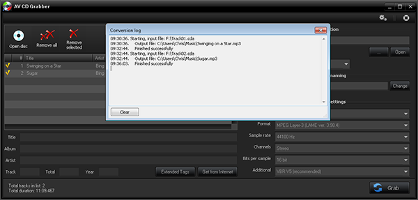 AV CD Grabber - Log conversione Screenshot