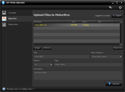 AV Media Uploader -AV Media Uploader � Skin Principale Screenshot